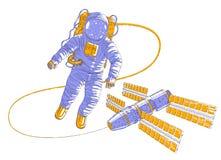 Astronaut het vliegen in open plek verbond met ruimtestation, ruimtevaarder in spacesuit die in gewichtloosheid drijven en iss ru royalty-vrije illustratie