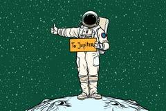 Astronaut hitch rides on Jupiter. Pop art retro vector illustration Royalty Free Stock Photography