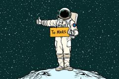Astronaut hitch rides on Mars. Pop art retro vector illustration Stock Photos