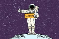 Astronaut hitch rides on Venus. Pop art retro vector illustration Stock Images