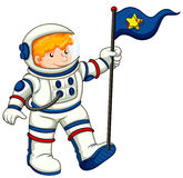 An astronaut holding a flag Stock Photos