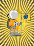 Astronaut Holding a Flag raybeam background. Cartoon Explorer holding flag flashy accented background Royalty Free Stock Image