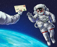 Astronaut in i öppet utrymme Fotografering för Bildbyråer