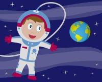 Astronaut i avstånd med jord Arkivbild