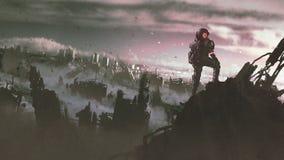 Astronaut i den förstörda staden stock illustrationer
