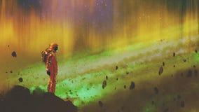 Astronaut i stjärnklar yttre rymd vektor illustrationer