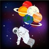 Astronaut i utrymmeillustration royaltyfri illustrationer