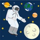 Astronaut i utrymmeillustration vektor illustrationer