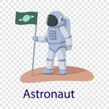 Astronaut icon, flat style stock illustration