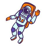 Astronaut icon, hand drawn style royalty free illustration