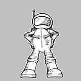 Astronaut Illustration. Black and white on grey background Stock Photos