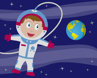 Astronaut im Platz mit Erde vektor abbildung