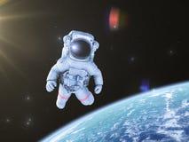 Astronaut im Raum, 3d übertragen, lizenzfreies stockfoto