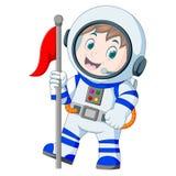 Astronaut im weißen Spacesuit auf weißem Hintergrund Stockfotos
