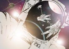 Astronaut im Weltraum und in einer Raumstation Stockbilder