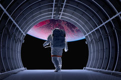 Astronaut In The Tunnels Royalty Free Stock Image