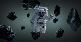 Astronaut isolated on grey background 3D rendering elements of t. Astronaut floating isolated on grey background 3D rendering elements of this image furnished by Stock Photos
