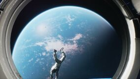An astronaut jumps out of a spaceship into outer space. The animation is designed for fantastic, futuristic or space travel backgr