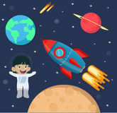 Astronaut kid in space with rocket ship Stock Image