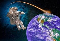 Astronaut in kosmische ruimte royalty-vrije stock foto's