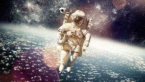 Astronaut in kosmische ruimte Stock Afbeelding