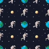 Astronaut in kosmische ruimte dichtbij de aarde en het maan naadloze patroon stock illustratie