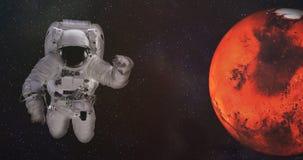 Astronaut in kosmische ruimte met Mars De elementen van dit beeld werden geleverd door NASA stock fotografie