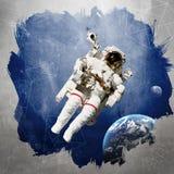 Astronaut in kosmische ruimte modern art. royalty-vrije stock afbeeldingen