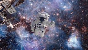 Astronaut in kosmische ruimte tegen de achtergrond van een melkweg en een cluster van sterren Cosmanaut hangt in nul ernst vector illustratie
