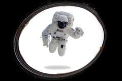 Astronaut in kosmische ruimte van patrijspoort Minimaal art stock fotografie