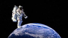 Astronaut, Kosmische ruimtegang, Aarde, 4k royalty-vrije illustratie