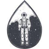 Astronaut, kosmonaut in een ruimtepak en helm Stock Afbeelding