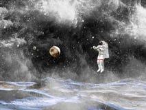 Astronaut Landing On een Planeet De kosmonaut onderzoekt onbekende planeet stock afbeelding