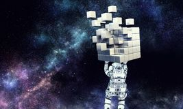 Science and technologies. Mixed media. Astronaut lifting cube figure above head. 3d rendering Royalty Free Stock Photos