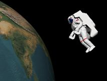 Astronaut looking at the earth - 3D render. Astronaut floating in black background for space and looking at the earth - Elements of this image furnished by NASA Stock Image