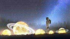 Astronaut looking at stars. On the grass, digital art style, illustration painting royalty free illustration