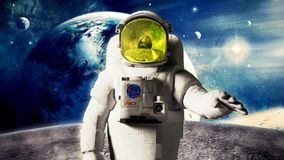 Astronaut looks at the earth from the moon Elemen ts of this ima. Ge furnished by NASA 3d render Stock Image