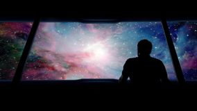 Astronaut Looks Out Traveling Into Vast Galaxy. Man looks at vast galaxy from space shuttle stock footage