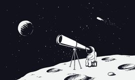 Astronaut looks through the telescope to universe. On Moon.Drawing style.Space vector illustration Stock Photos