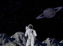 Astronaut on lunar surface Stock Image