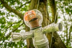 An astronaut made from plant pots stock photos