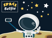 Astronaut making a selfie on the moon surface concept. Selfie shot on smartphone in space Stock Photos