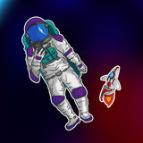 Astronaut making a selfie in the vector EPS 10 stock photography