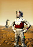 Astronaut on mars. An astronaut on mars with a spacecraft in background in 3d Royalty Free Stock Photos