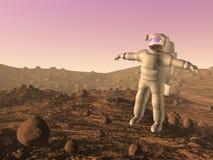 Astronaut on mars - 3D render Stock Photos