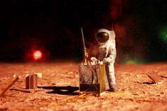 Astronaut on mars. Astronaut landing on mars planet Royalty Free Stock Images