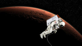 Astronaut in mars orbit Stock Images