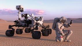 Astronaut with mars rover, cosmonaut kneeling next to robotic space autonomous vehicle on a deserted planet, 3D render stock illustration