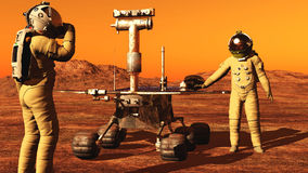 The astronaut and a mars rover Stock Photography