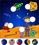 Astronaut, martians and rocket in the space. Complete the puzzle Royalty Free Stock Images